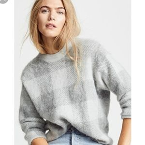 NWOT Vince alpaca plaid crew mohair sweater m